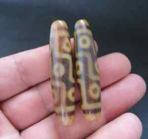 A Pair of Magic Power Tibetan Old Agate Yellow Color 9 Eyes dZi Bead Amulet A06
