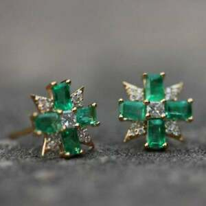2-00-Ct-Emerald-amp-Diamond-Cluster-Stud-Earrings-Solid-14K-Yellow-Gold-Over