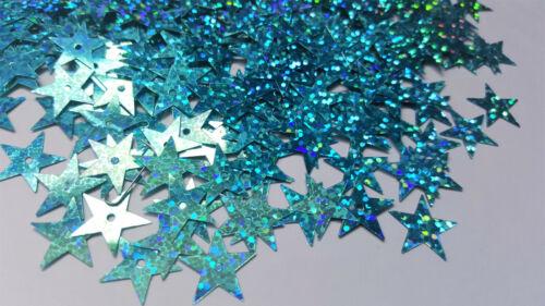 50 x paillettes olografiche 15mm-Star-blu