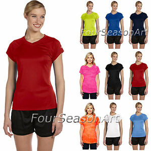 9502e972257c Champion Ladies Double Dry V Neck Performance T Shirt Womens S-2XL ...