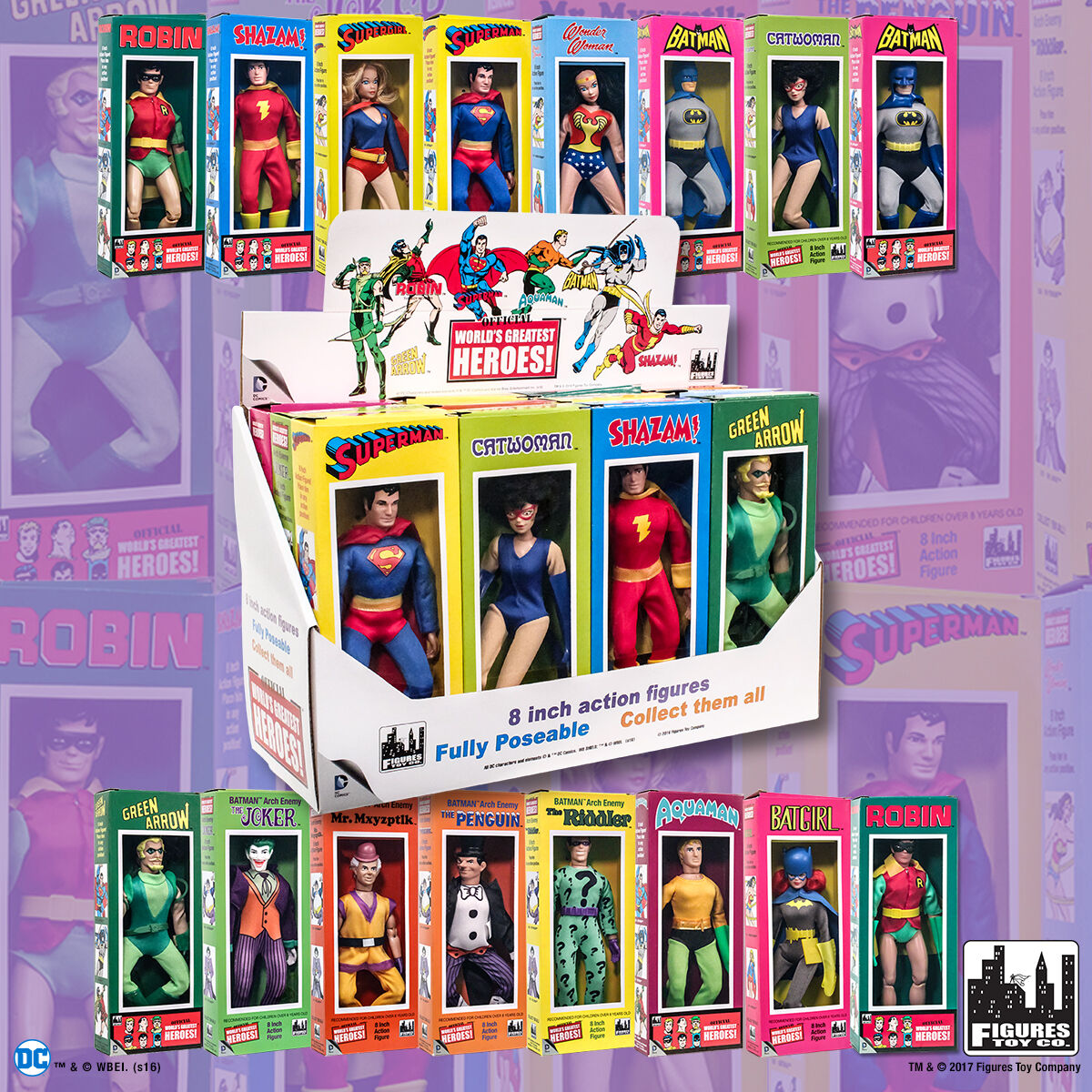 DC Comic 8 inch Retro Action Figures in MRetro Style Retro Box  Set of all 16