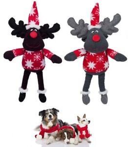 Christmas-Xmas-Festive-Soft-Plush-Mr-amp-Mrs-Reindeer-Dog-Toy-with-Squeaker