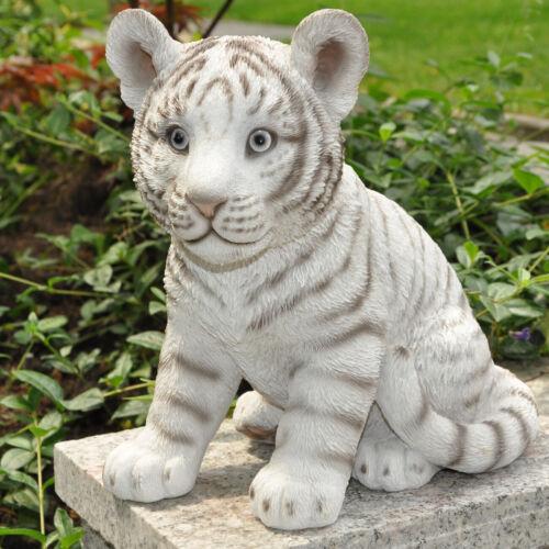 Gartenfigur Dekofigur Skulptur weißer Tiger Tier Deko Figur frostfest 24 cm