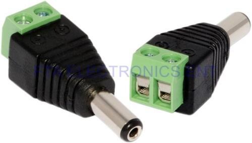 2Pcs Cat6 Cat5 Cable CCTV Camera UTP DC Plug 2.1mm x 5.5mm Male Power Connectors