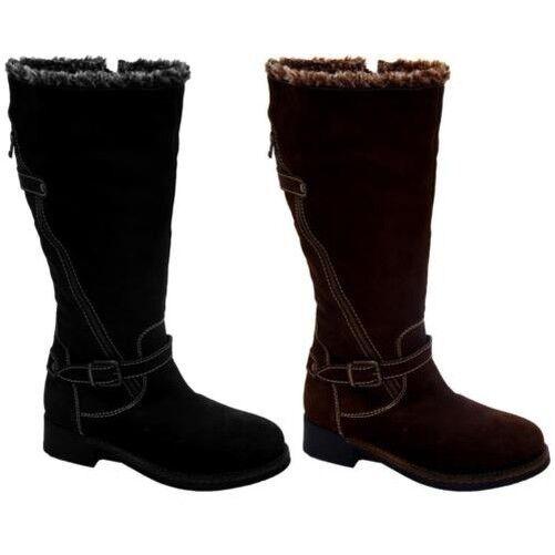 Damen Niedriger Absatz Leder Inner Und Oberen Kniehoch Damen Stiefel Schuhe    | Rabatt