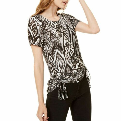 INC NEW Women/'s Ikat Print Side-ruched Knit Casual Shirt Top TEDO