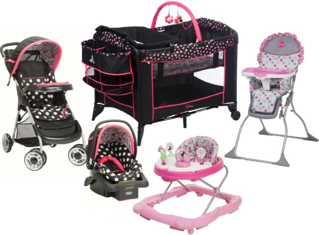 4 Pc Pink Cosco Car Seat Stroller High Chair Play Yard Crib