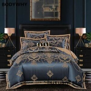 Sliver-Gold-Luxury-Silk-Satin-Jacquard-Duvet-Cover-Bedding-Set-Queen-Embroidery