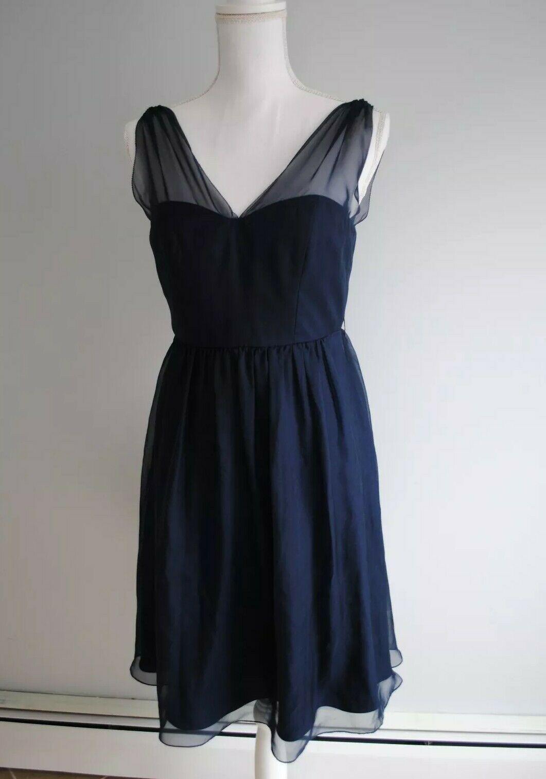 Anthropologie QUILLAREE Cocktail Dress- Sz 4 Navy Blau, Evening Formal A-Line