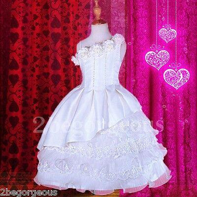 Lace Tiered Satin Dress Wedding Flower Girl Bridesmaid Communion Age 2y-10y #260