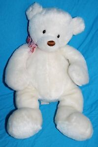 "GUND TEDDY BEAR 16"" Stuffed Animal Decadent White Plush Bow Valentines 14218"
