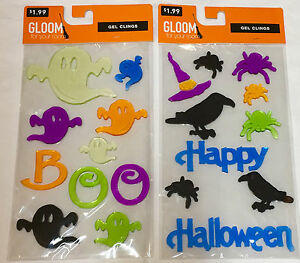 2-Halloween-reuseable-window-gel-clings-you-pick-various-new-sealed-package