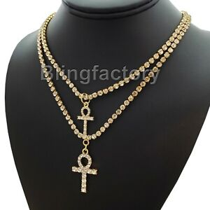 24 Box Chain 2 Necklace Set BLINGFACTORY Hip Hop Iced Double Egyptian Nefertiti Pendant /& 20