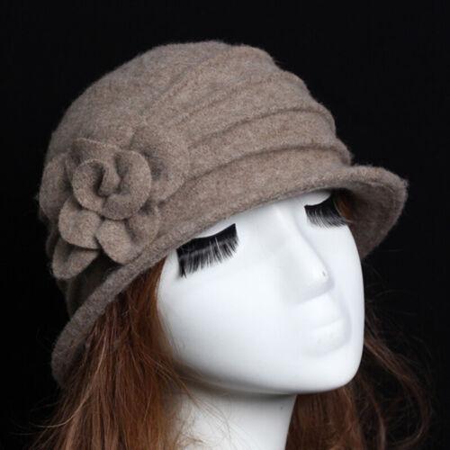 Hut Mütze Damen 100/% Wolle Blume Warm Jahrgang Baskenmütze Krempe Kirche