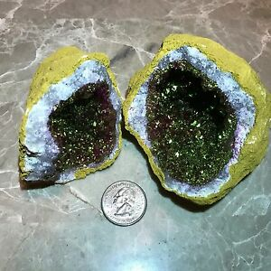 1-VERY-LARGE-PINK-GEODE-Crystal-with-Pyrite-Druze-Center-Both-Halves