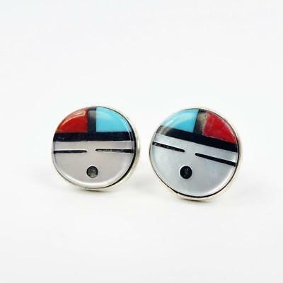 Native American Zuni Sterling Silver Turquoise Inlay Small Sunface Post Earrings
