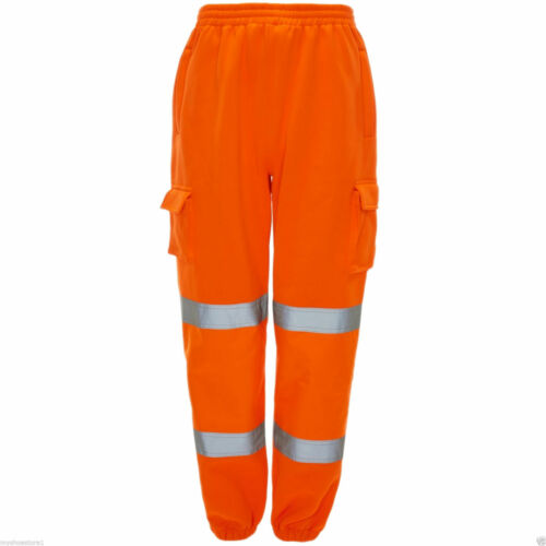 Men Safety Sweat Pants Hi Viz Work Fleece Bottoms Jogging Trousers Hi Vis Jogger