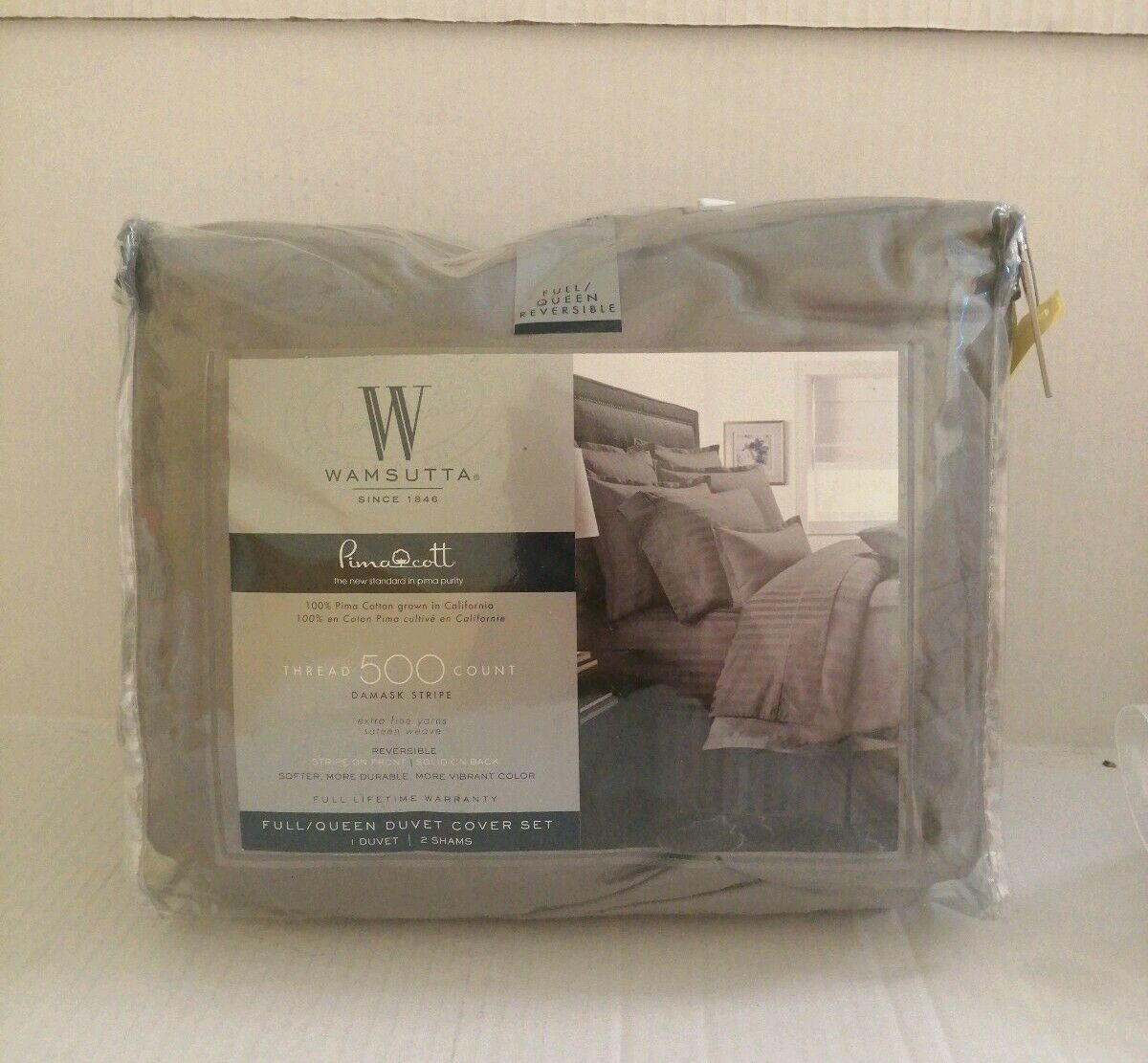 Wamsutta 500-Thread-Count PimaCott Queen Duvet Cover Set Stripe grau