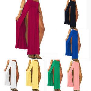 front slits thigh high waist maxi skirt s m l