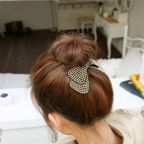 Lovely Crystal leather hair bows clips cheveux barrette strass épingle à cheveux filles UK