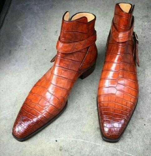 Uomo HANDMADE CROCODILE TEXTURE BROWN BOOTS Uomo CASUAL DRESS BOOTS