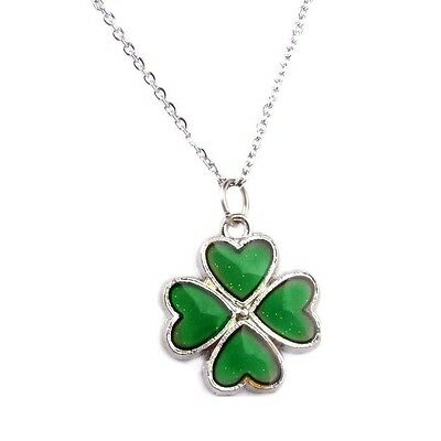 Mood Heart Clover Necklace Pendant Women Girls Chain Chain Color Changing