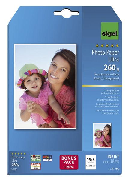 Sigel® Inkjet Fotopapier Ultra, hochglänzend, 260 g/qm, 13x18 cm, 18 Blatt