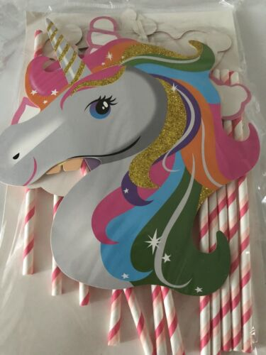 Girl Kids Unicorn Little pony Birthday Party Selfie Photo Booth Prop Game Signs
