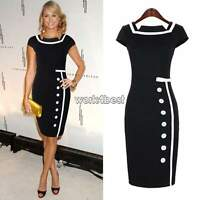 New Womens Ladies Bodycon Business Party Cocktail Pencil Dresses Size 8-16 Skirt