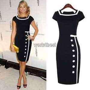 New-Womens-Ladies-Bodycon-Business-Party-Cocktail-Pencil-Dresses-Size-8-16-Skirt