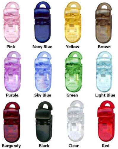 50 Baby Pacifier Badge Plastic Clips Bib CRAFTS CLEAR