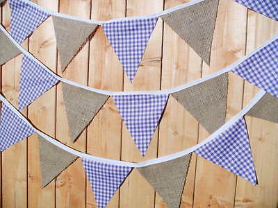 Handmade fabric bunting Hessian & Gingham 1m - 3.2 ft Weddings - parties No Gaps