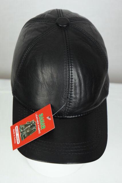 New 100% Genuine Real Lambskin Black Leather Baseball Cap Hat Sports Visor  NWT f9ebe573916