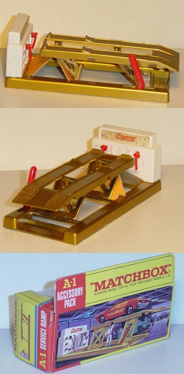 MATCHBOX a-1 Service Ramp, oro, Castrol, Matchbox King Size, OVP