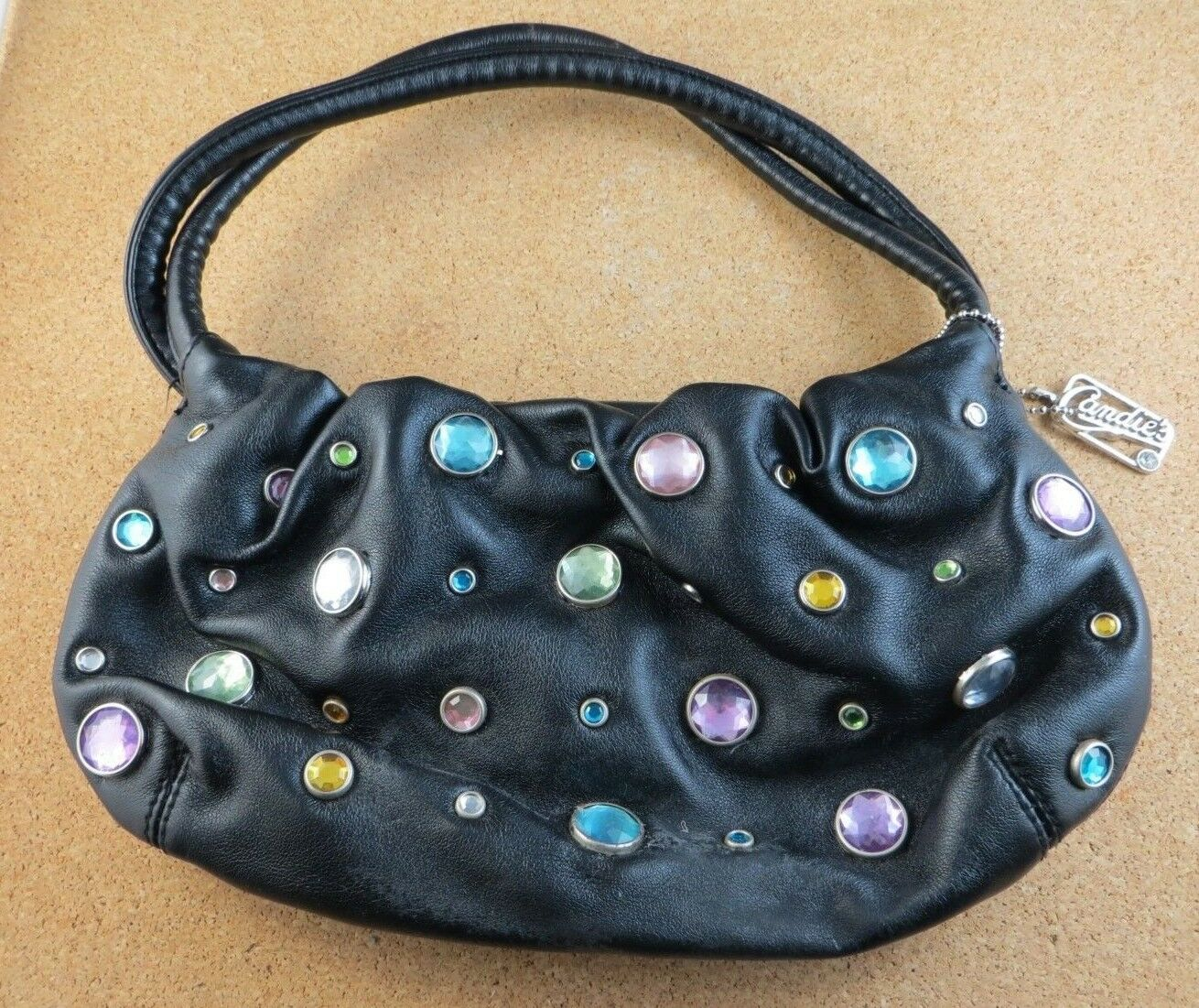 Small Vintage Candie's Faux Black Leather Pave Jeweled Handbag Clutch Purse Bag