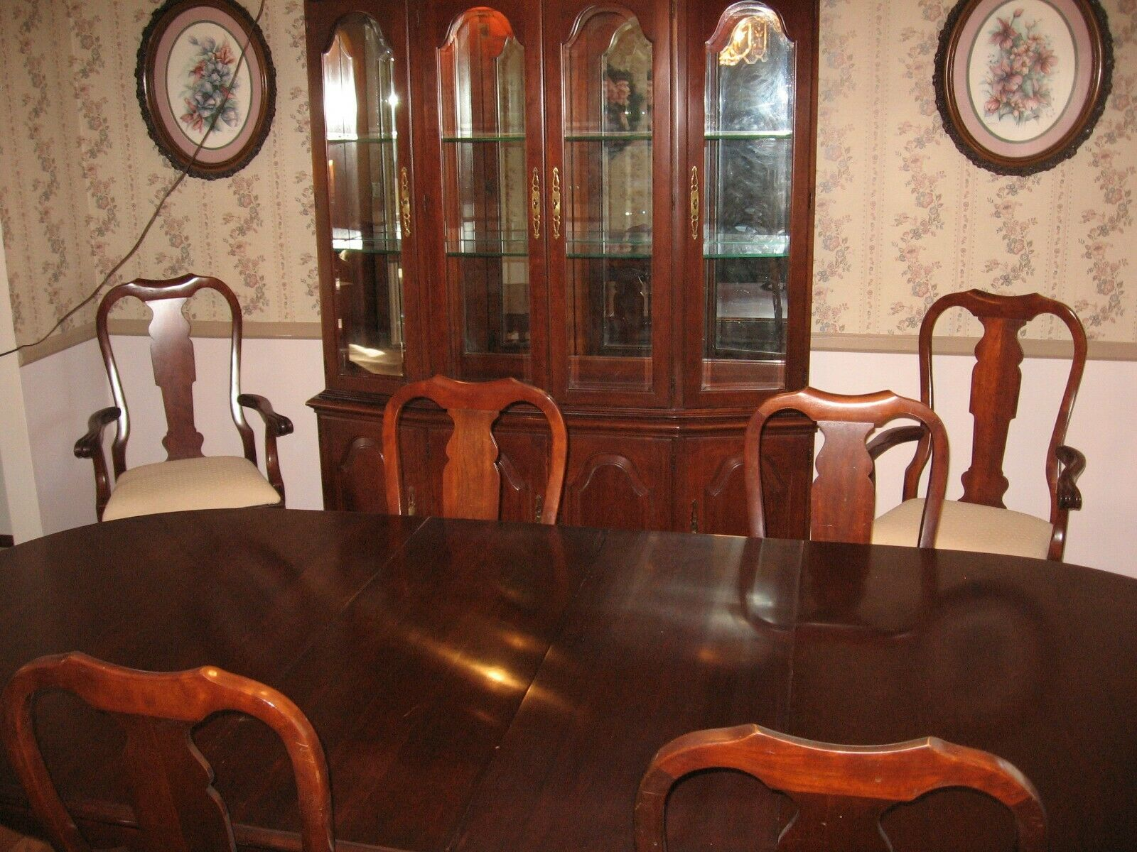 Pennsylvania House Solid Cherry Wood Dining Room Set W China Cabinet 6 Chairs For Sale Online