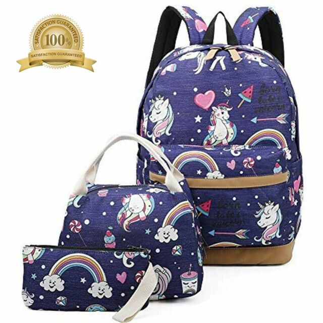 926b6c138b5c Girls School Backpack Unicorn Teens Bookbag Set Kids Laptop With Lunch Box  Blue)