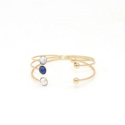 Plaqué or pierre naturelle quartz lapis lazuli Jade Cuff Bangle Bracelet SZ0732