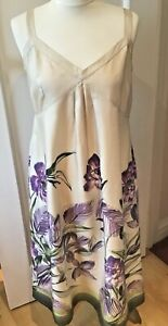 Kew-Jigsaw-robe-creme-soie-Glisser-une-ligne-avec-Violet-Iris-10-12-S-M
