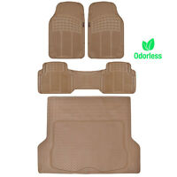 Weather-free Odorless Semi Custom Fit Floor Mats Car Truck W/ Cargo Liner Beige on sale