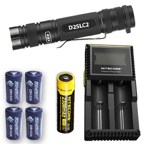 EagleTactical D25LC2 Tac Flashlight w D2 Charger, NL183 & 4x Eco-Sensa CR123A