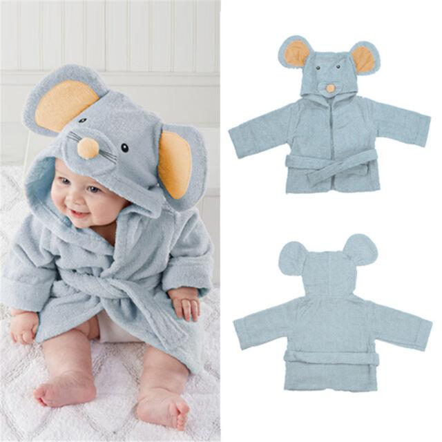 Cute Mice Baby Boy Dressing Gown Splash Wrap Bath Hooded Towel Robe