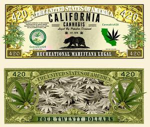 CANNABIS CALIFORNIA BILLET DOLLAR US! Feuille de Chanvre Photo marijuana million