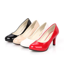 Fashion Women/'s Pointed Toe Pump Comfort Patent Low Heel Shoes New