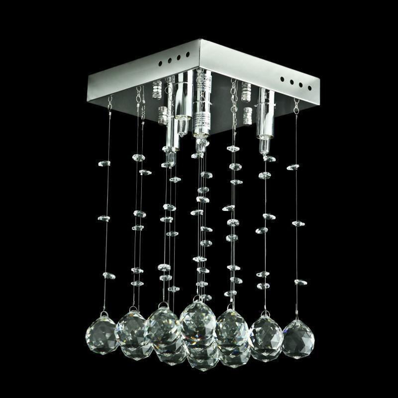 NEW Contemporary Crystal Square 4-Light Chandelier, Flush Mounted, Evrosvet