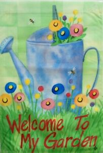 "Watering Can and Bees Garden Flag by Toland, 12.5"" x 18"",  #2247, ""Welcome"""