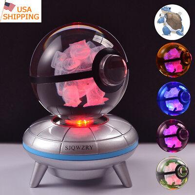 Pokemon Blastoise 3D LED Crystal Pokeball Night Light Table Desk lamp Gift 50mm