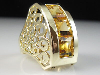 14K Citrine Ring Circle Bubbles Yellow Gold Channel Fine Square Signed Size 8