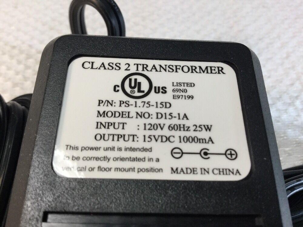 15V DC 1A Power Adapter Supply 120V 60Hz 25W P//n PS-1.75-15D