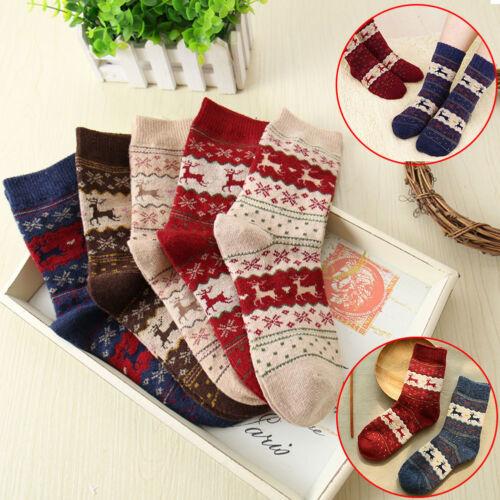 Women Winter Socks Christmas Warm Wool Sock  Snowflake Deer  Soft Fashion